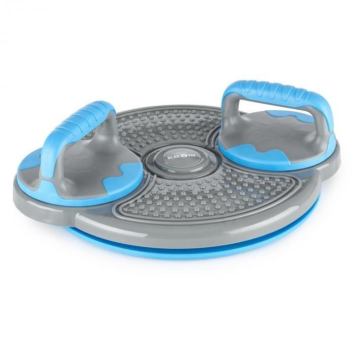 Balanční podložka - KLARFIT Klartwist, modrý, rotační disk, 3 v 1 balanční podložka, držák pro kliky