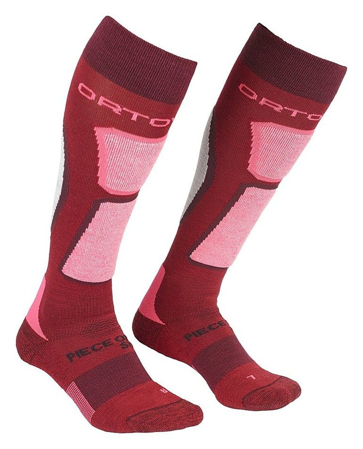 Červené vlněné dámské lyžařské ponožky Ortovox