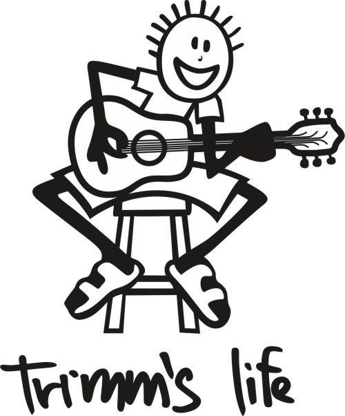 Červeno-oranžové pánské tričko s krátkým rukávem Guitar, Trimmslife - velikost L