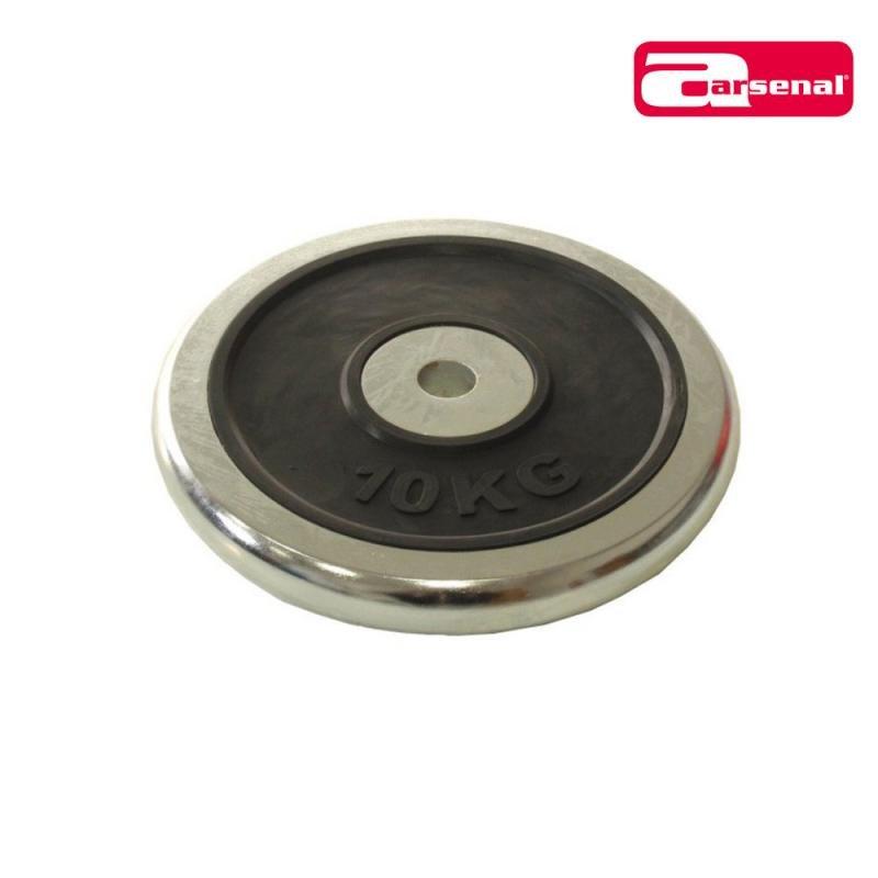 Kotouč na činky - ARSENAL kotouč chrom + guma 10 kg, otvor 25mm