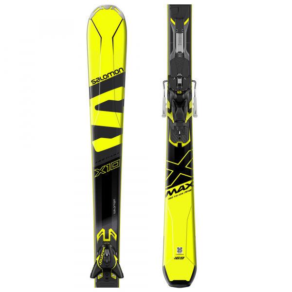 Černo-žluté lyže s vázáním Salomon