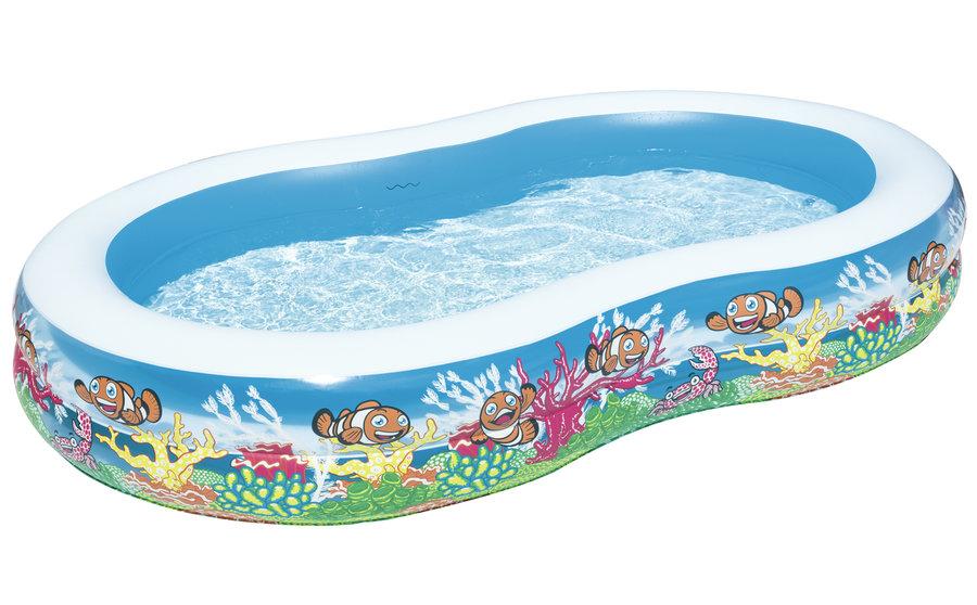 Dětský nadzemní nafukovací oválný bazén Bestway - délka 262 cm, šířka 157 cm a výška 46 cm