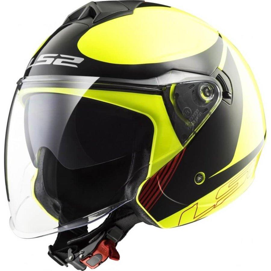 Černo-žlutá unisex helma na motorku OF573 Twister Plane, LS2