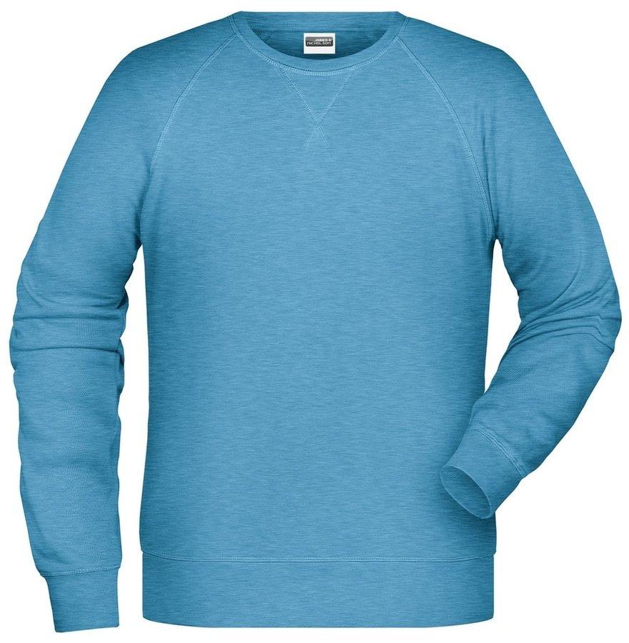Modrá pánská mikina bez kapuce James & Nicholson - velikost M