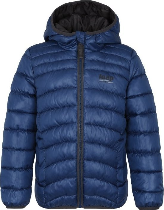 Modrá dětská zimní bunda s kapucí Loap - velikost 134-140