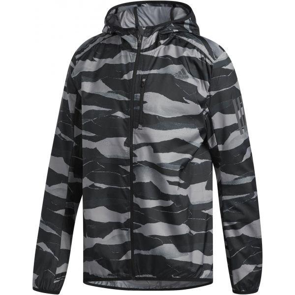 Černo-šedá pánská běžecká bunda s kapucí Adidas