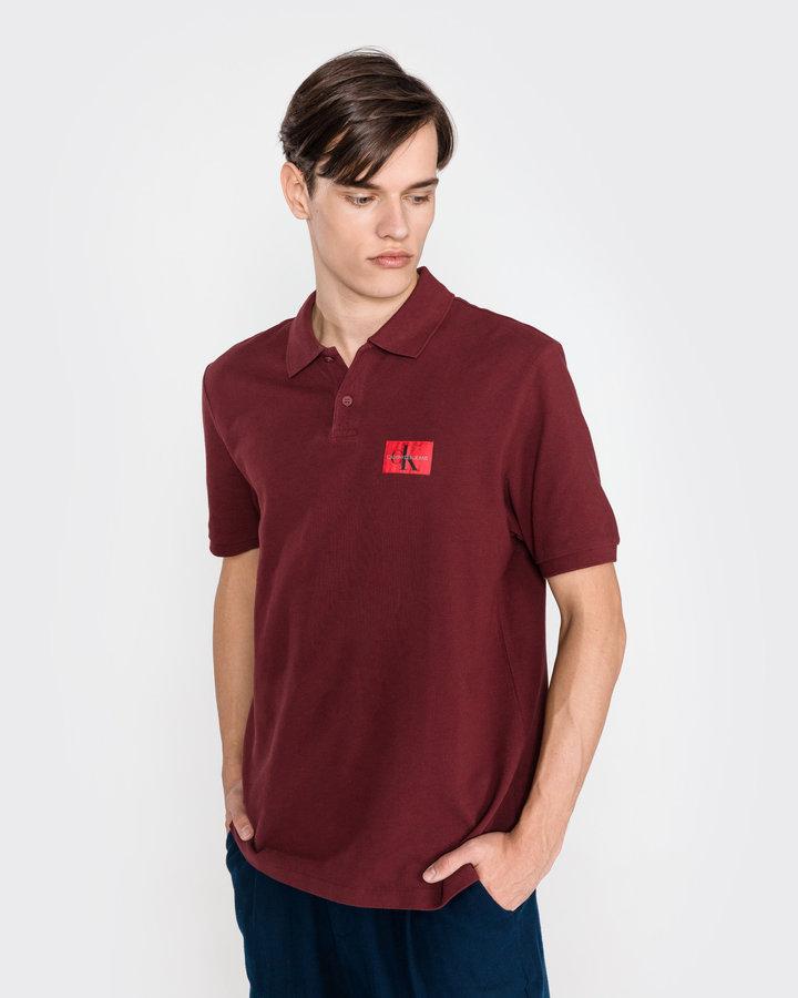 Červená pánská polokošile s krátkým rukávem Calvin Klein - velikost L