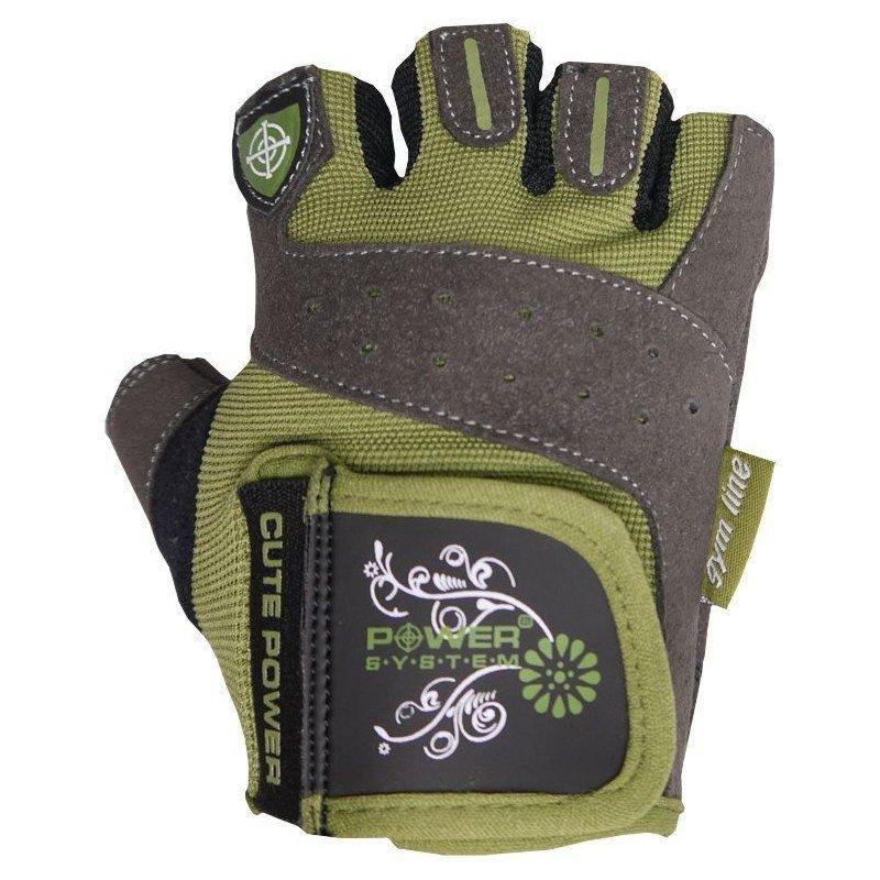 Šedo-zelené fitness rukavice Power System