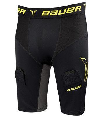 Hokejové kraťasy - Šortky se suspenzorem Bauer Premium Compression Yth XS