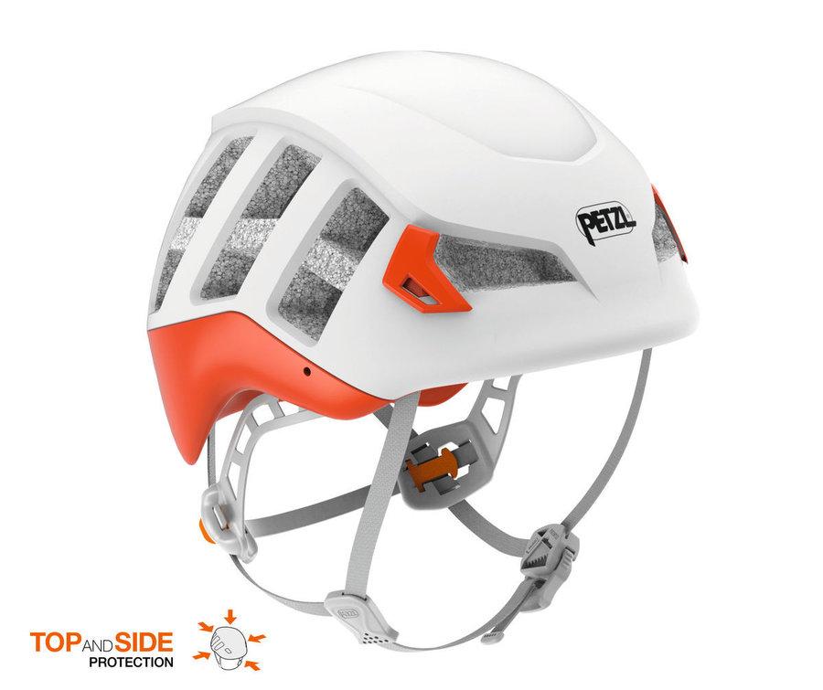 Bílo-oranžová dámská horolezecká helma Petzl