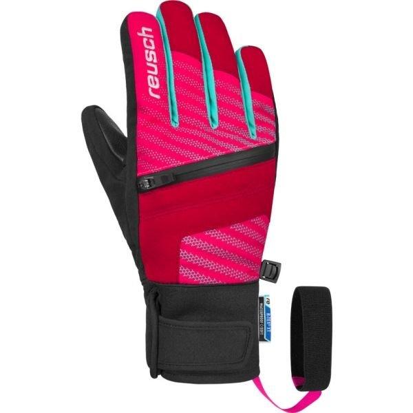 Růžové dámské lyžařské rukavice Reusch