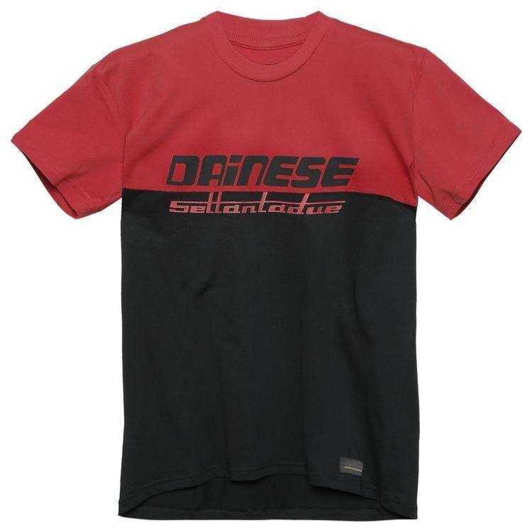 Černo-červené pánské motorkářské tričko s krátkým rukávem Dainese
