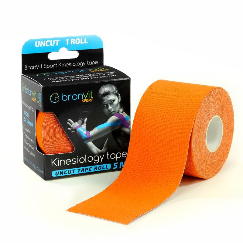 Oranžová tejpovací páska BronVit - délka 5 m a šířka 5 cm