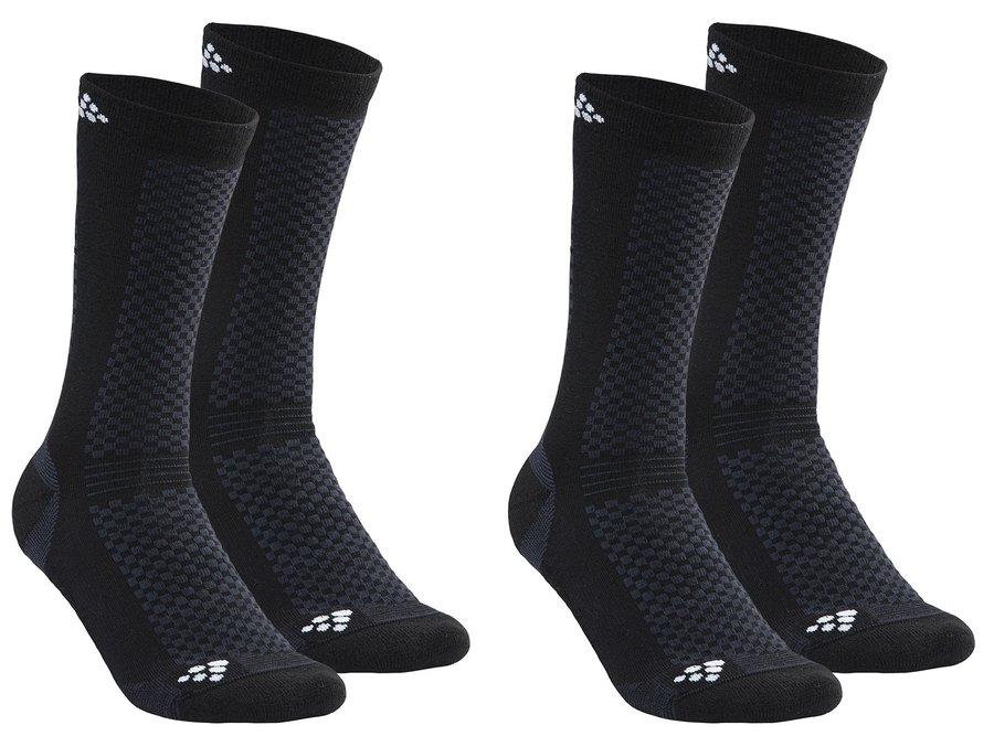 Černé pánské ponožky Craft - velikost 37-39 EU - 2 ks