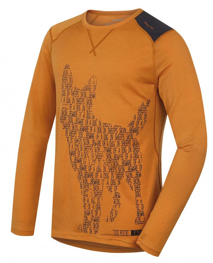 Oranžové pánské termo tričko s dlouhým rukávem Husky - velikost L