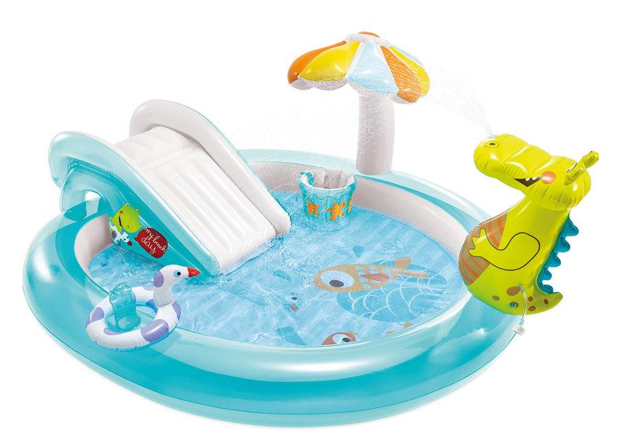 Dětský nafukovací nadzemní oválný bazén INTEX - délka 201 cm, šířka 84 cm a výška 17 cm