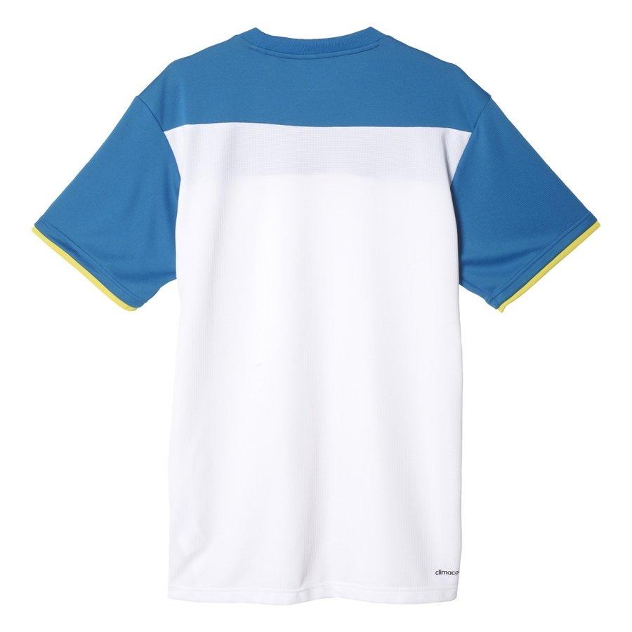 Bílo-modré pánské tenisové tričko Adidas - velikost M