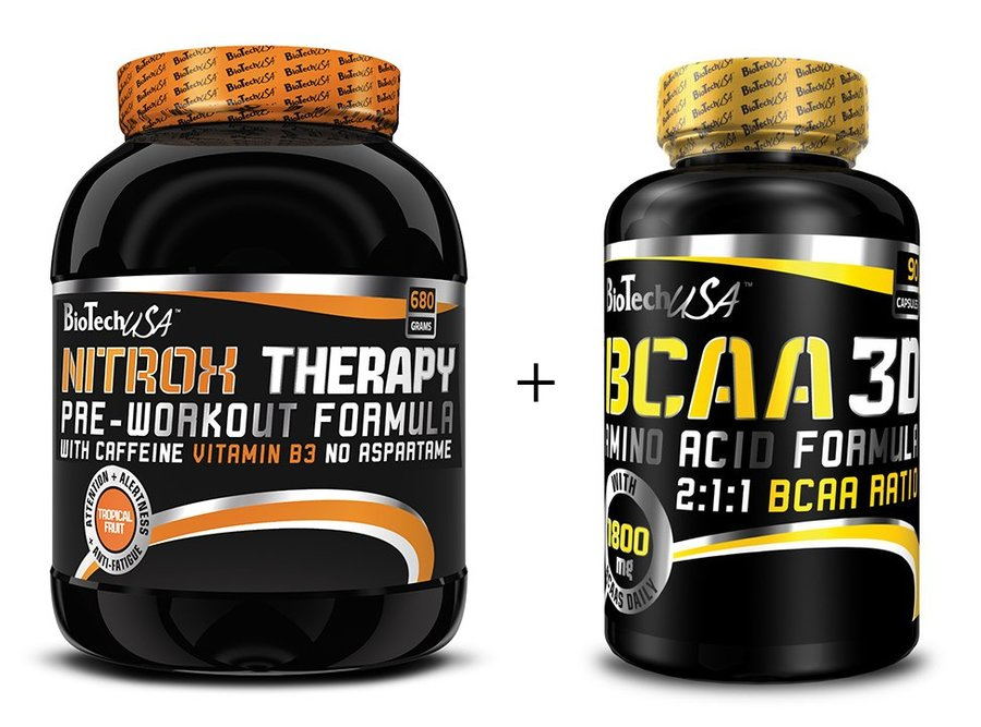 BCAA - Akce: Nitrox Therapy New + BCAA 3D Zdarma - Biotech USA 680 g + 90 kaps. Brusnica