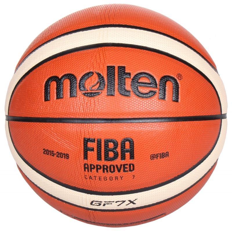 Hnědo-žlutý basketbalový míč BGF7, Molten - velikost 7