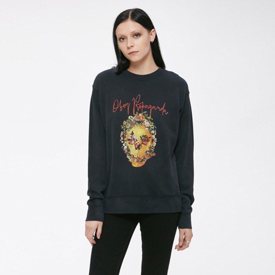 Mikina - Černá mikina – Flower skull – L
