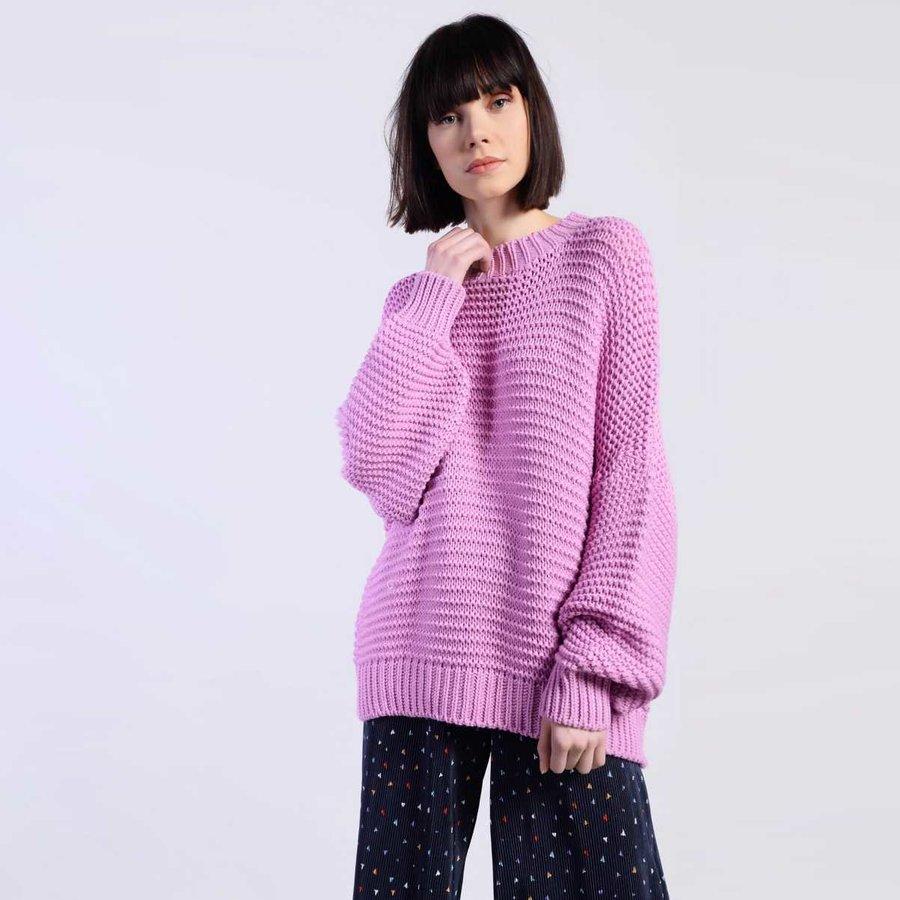 Svetr - Růžový oversize svetr – S