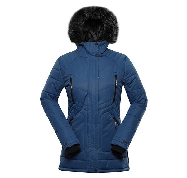 Modrá zimní dámská bunda s kapucí Alpine Pro