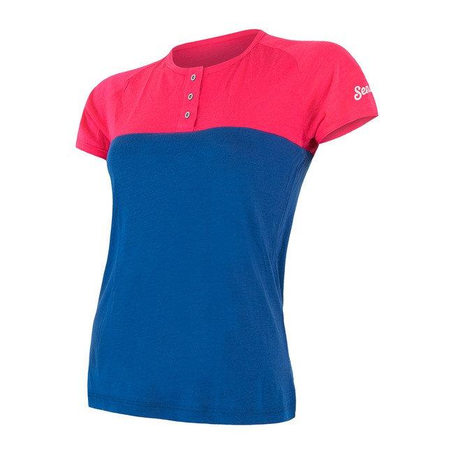 Modro-růžové dámské funkční tričko s krátkým rukávem Sensor