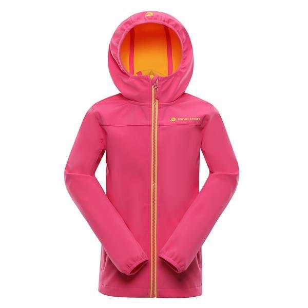 Růžová softshellová dívčí bunda s kapucí Alpine Pro