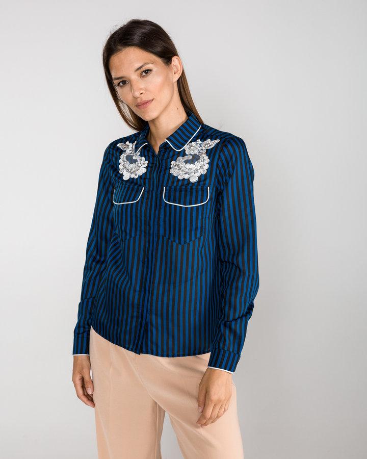 Modrá dámská košile s dlouhým rukávem Silvian Heach