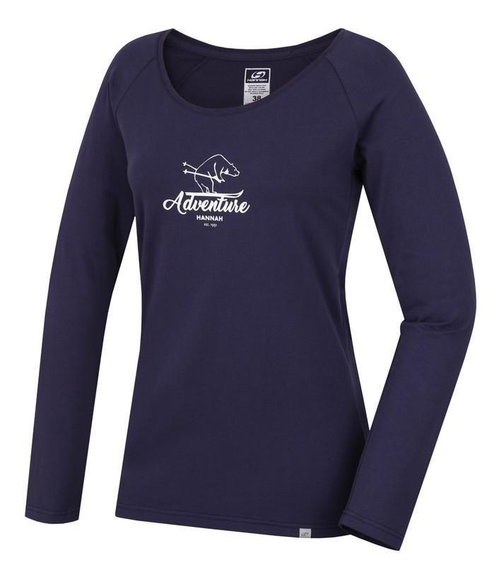 Modré dámské tričko s dlouhým rukávem Hannah - velikost 42