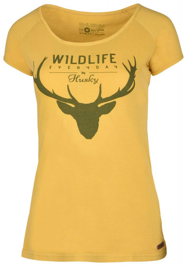 Žluté dámské tričko s krátkým rukávem Husky