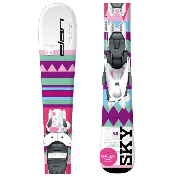 Bílo-růžové dívčí lyže s vázáním Elan - délka 130 cm