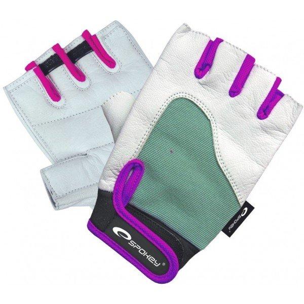 Bílo-zelené dámské fitness rukavice Spokey