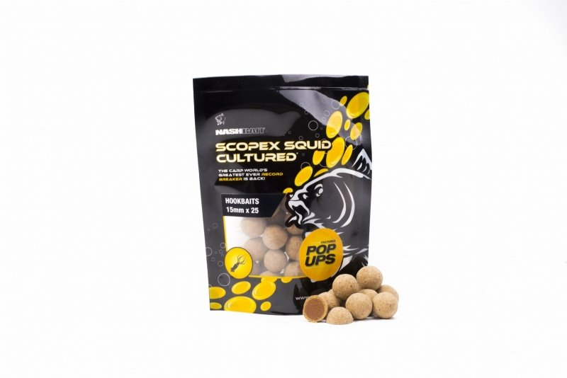Boilies - Nash Tackle Nash plovoucí boilies Scopex Squid Cultured Pop Ups Velikost: 15mm