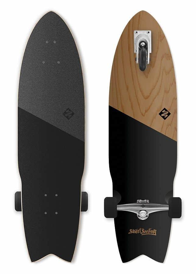 """Longboard - Longboard Street Surfing SHARK ATTACK 36"""" Koa Black"""
