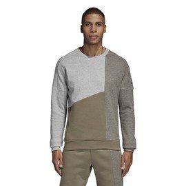 Hnědo-šedá pánská mikina bez kapuce Adidas - velikost M