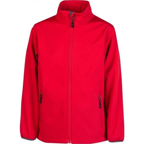 Červená softshellová chlapecká bunda Kensis