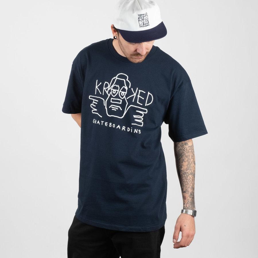Modré pánské tričko s krátkým rukávem Krooked - velikost L