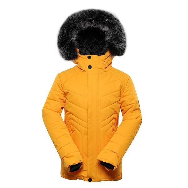 Žlutá dětská zimní bunda s kapucí Alpine Pro - velikost 140-146