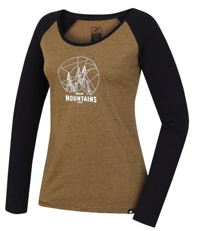 Černo-hnědé dámské tričko s dlouhým rukávem Hannah - velikost 34
