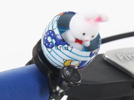 Bílo-modrý dětský zvonek na kolo Zajíc First BIKE