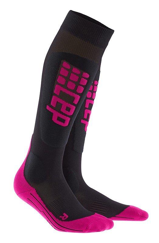 Černo-růžové dámské lyžařské ponožky CEP - univerzální velikost