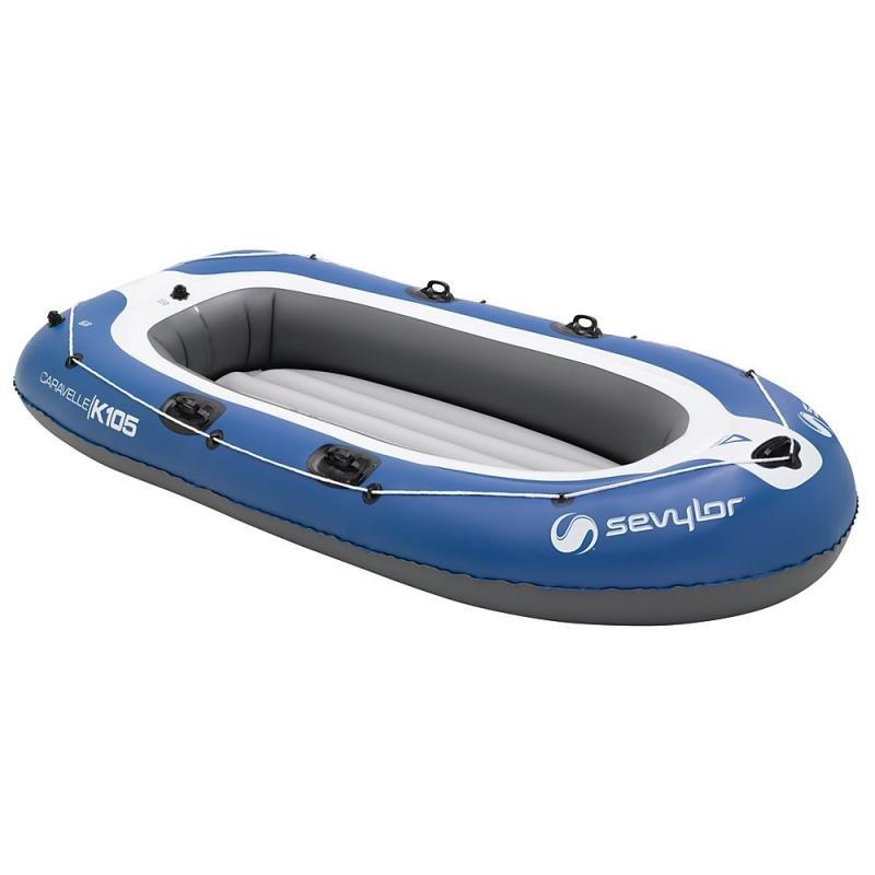 Modrý nafukovací člun s nafukovacím dnem pro 3 osoby Sevylor