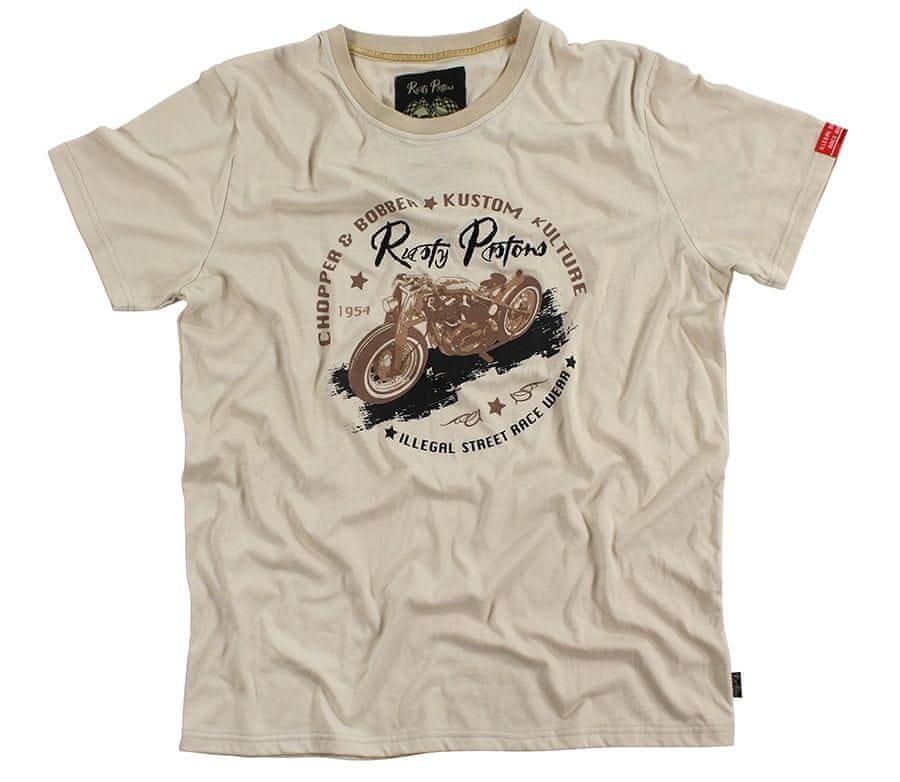 Béžové pánské motorkářské tričko s krátkým rukávem Rusty Pistons