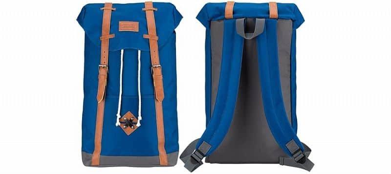 Batoh - Plátěný batoh ABBEY s koženými popruhy Černý