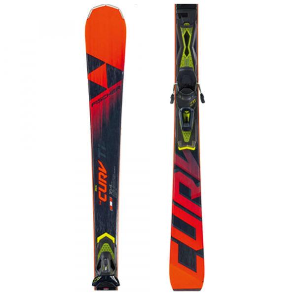 Černo-červené lyže s vázáním Fischer