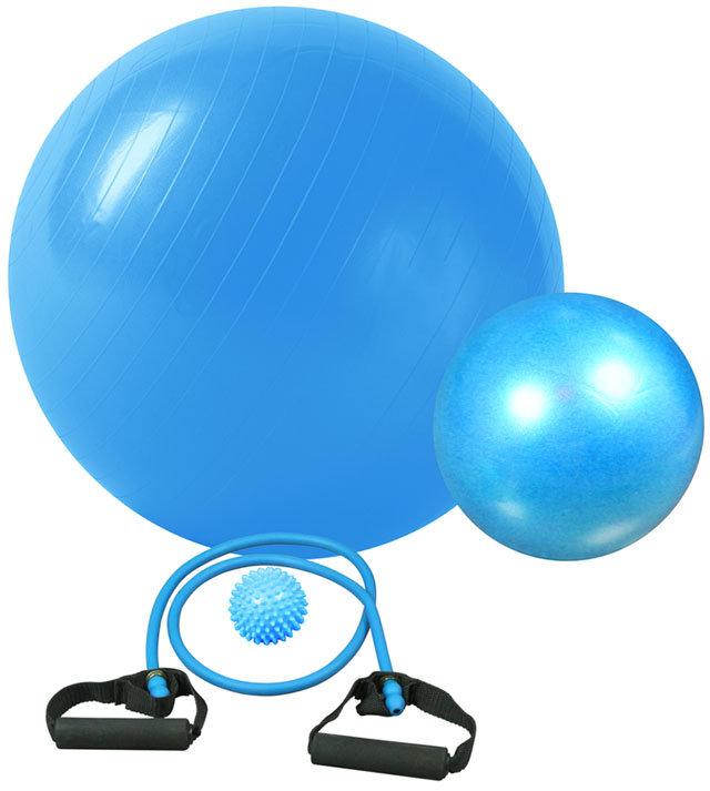 Modrý gymnastický míč s gumovými expandéry Acra - průměr 65 cm