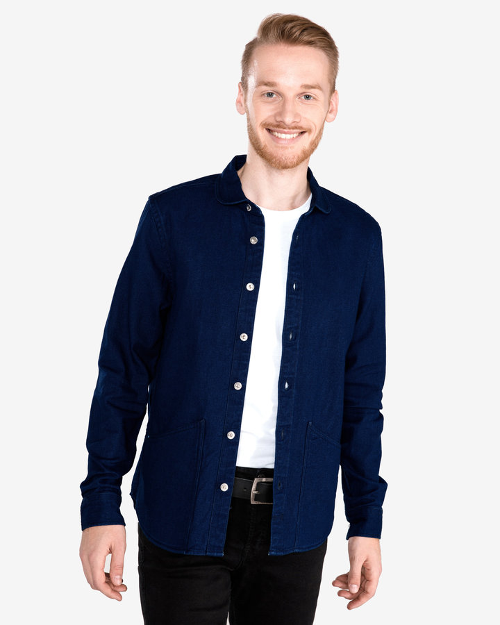 Modrá pánská košile s dlouhým rukávem Scotch & Soda - velikost XL