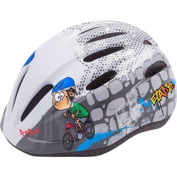 Bílo-šedá dětská cyklistická helma Etape - velikost 52-56 cm