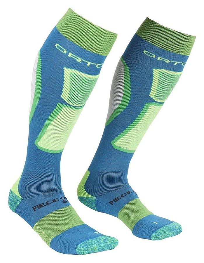 Modro-zelené vlněné pánské lyžařské ponožky Ortovox